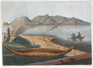 <p>Traditional Tasmanian birch canoe, as seen by the French Baudin expedition (engraving Lesueur)</p>