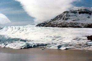 Cook Glacier, Kerguelen island in the Antaric Ocean. Tasman was very close by. Source: Wikipedia commons