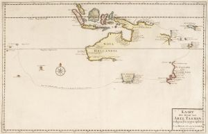 71c66a8da Tasman would lead two expeditions to chart the Known and Unkownd Southland.  Both are depicted