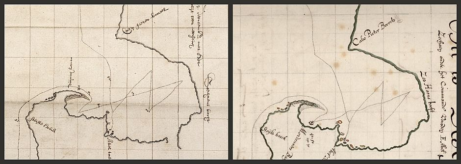 <p>A comparison of the South Taranaki Bight area in the Visscher chart, and the chart in the State Archives copy</p>